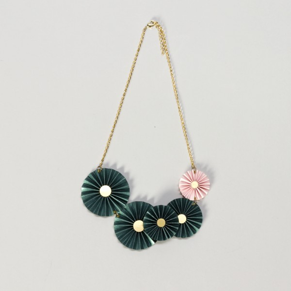 Halskette . CIRCLES . grünpink