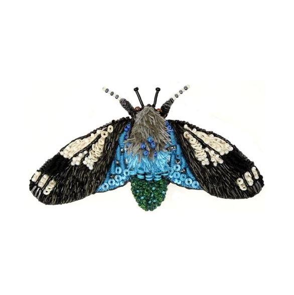 Brosche . TROVELORE . Motte Crambid Blue