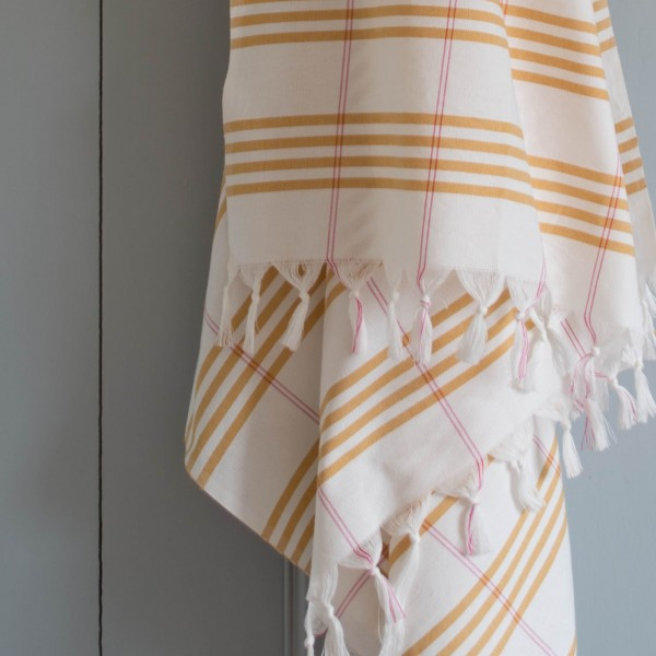 hamam towel . OTTOMANIA . checkered, l, ochre
